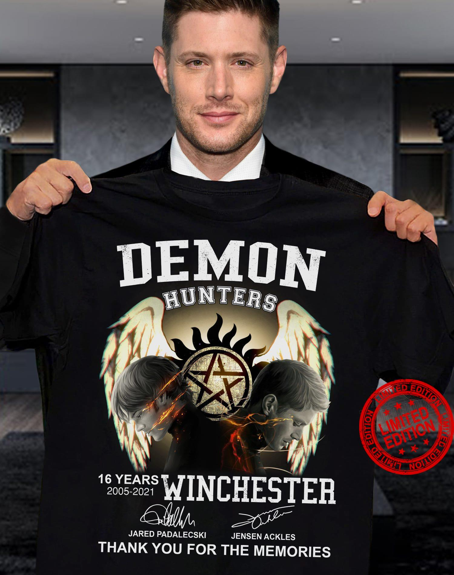 Demon Hunters 16 Years 2005 2021 Winchester Thank You For The Memories Shirt