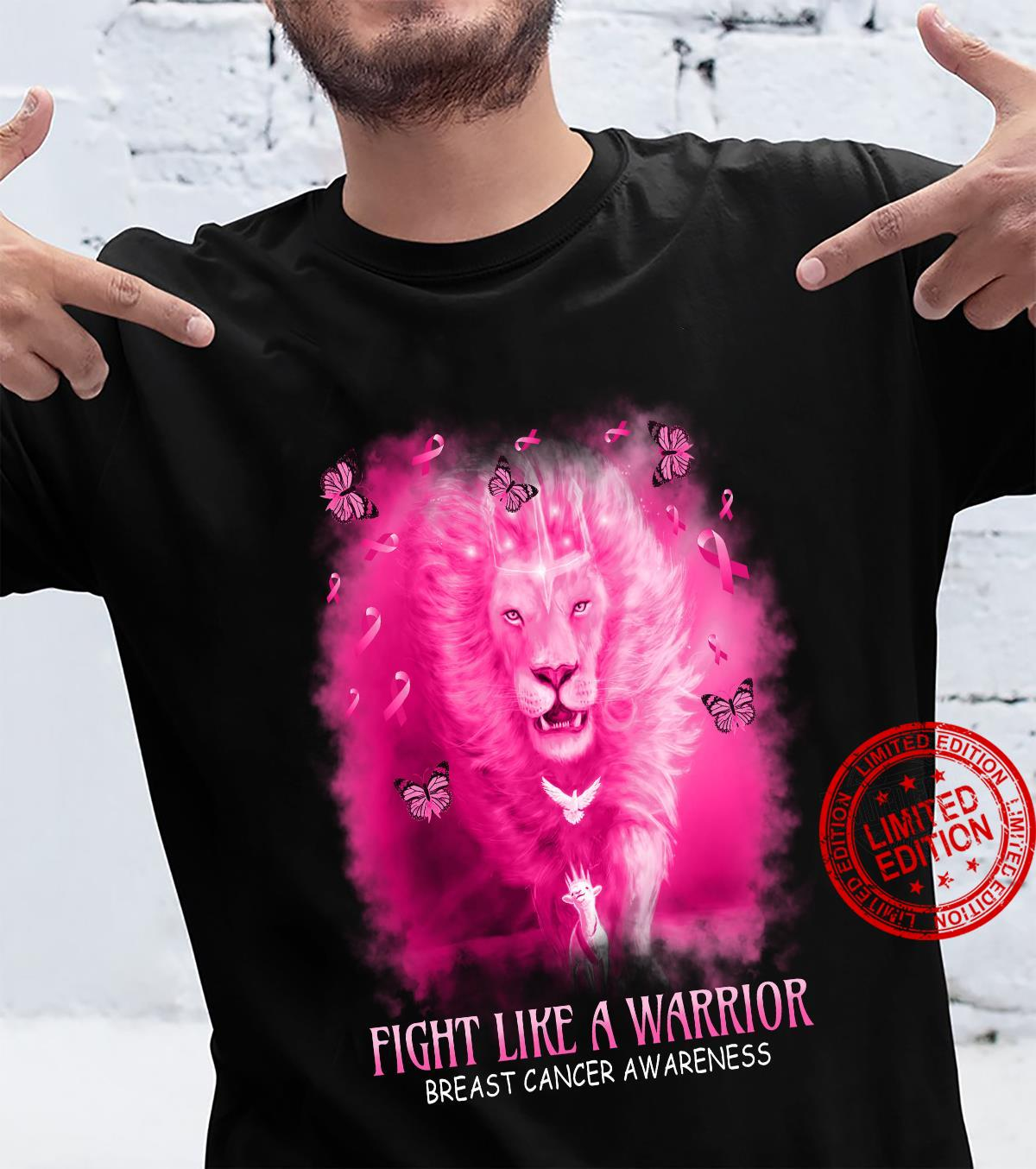 Lion Fight Like A Warrior Breast Cancer Awareness Shirt unisex