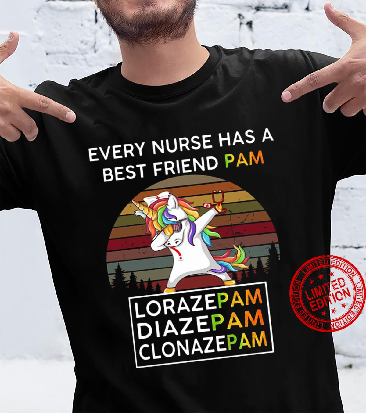 Retro Sunset Unicorn Every Nurse Has A Best Friend Pam Shirt