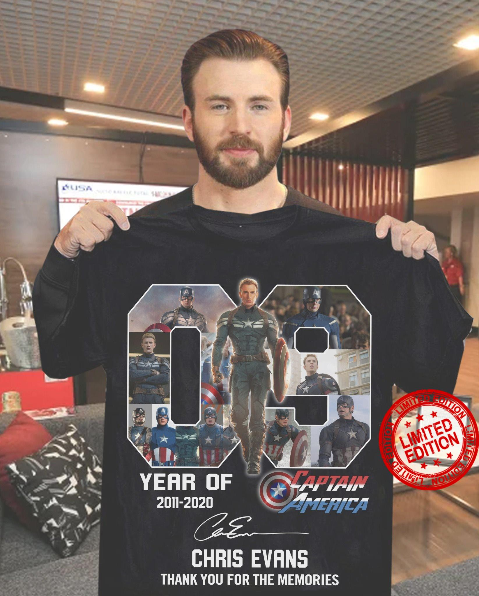 09 Year Of 2011-2020 Captain America Chris Evans Thank You For The Memories Shirt