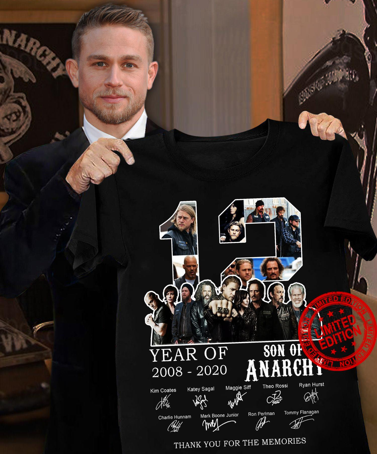 12 Year Of 2008-2020 Son Of Anarchy Thank You For The Memories Shirt