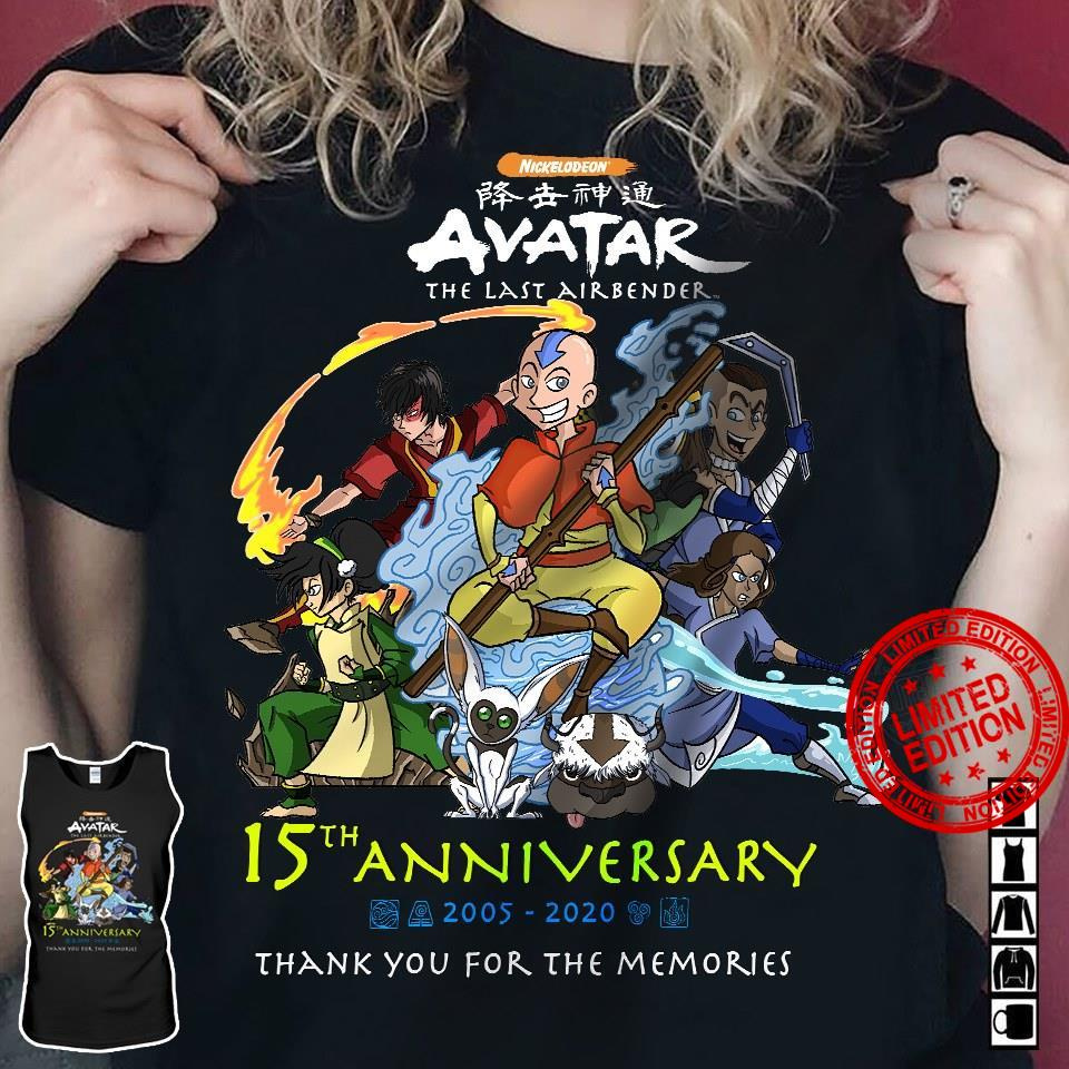 Avatar The Last Airbender 15th Anniversary 2005-2020 Thank You For The Memories Shirt