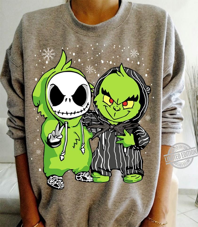 Baby Jack Skellington And Baby Grinch Merry Christmas Shirt