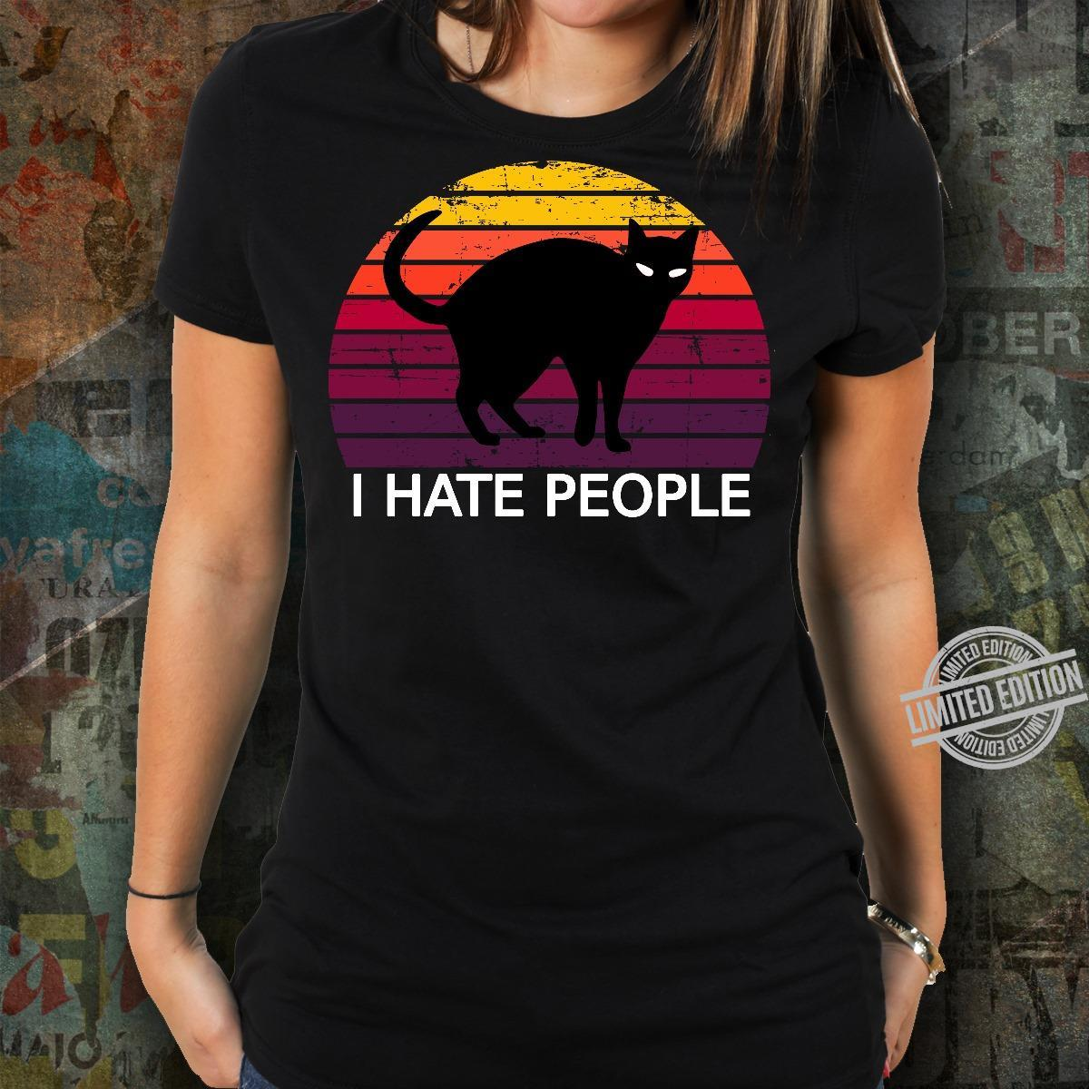 Black Cat I Hate People Shirt