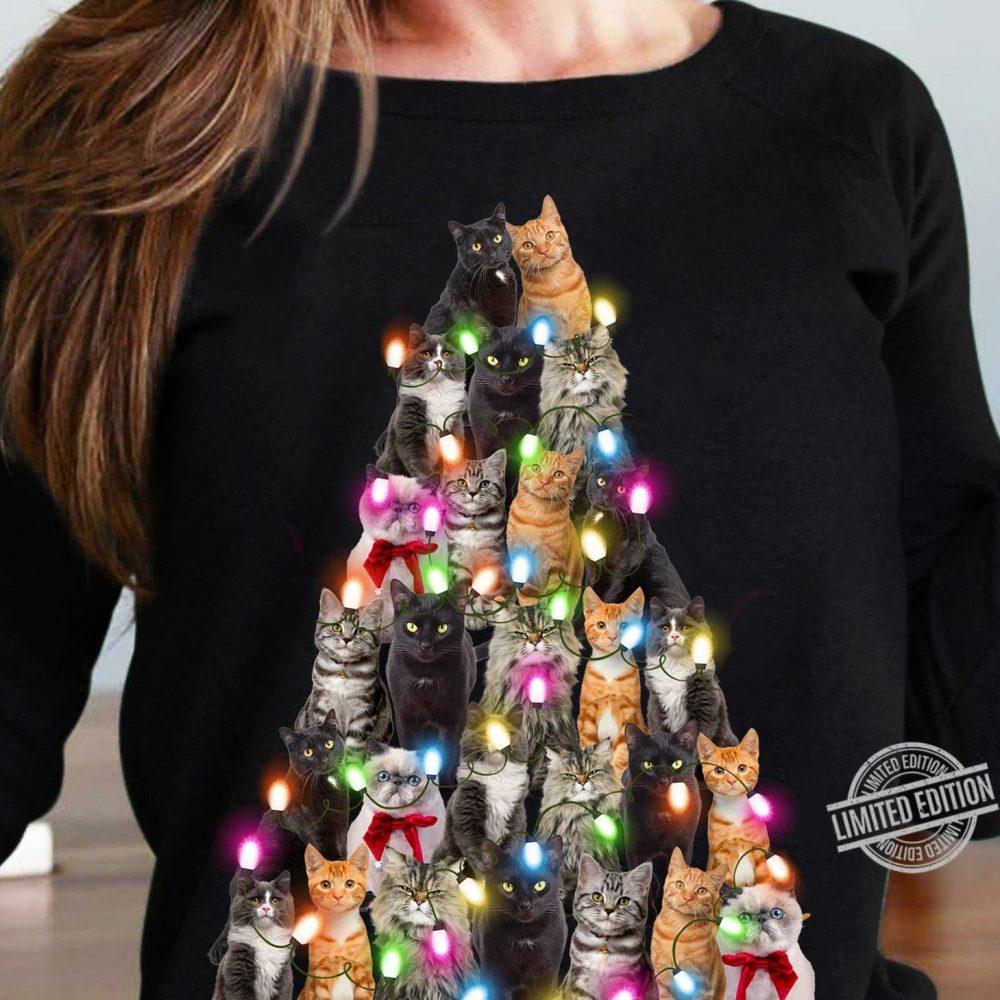 Cat Christmas Tree Light Shirt