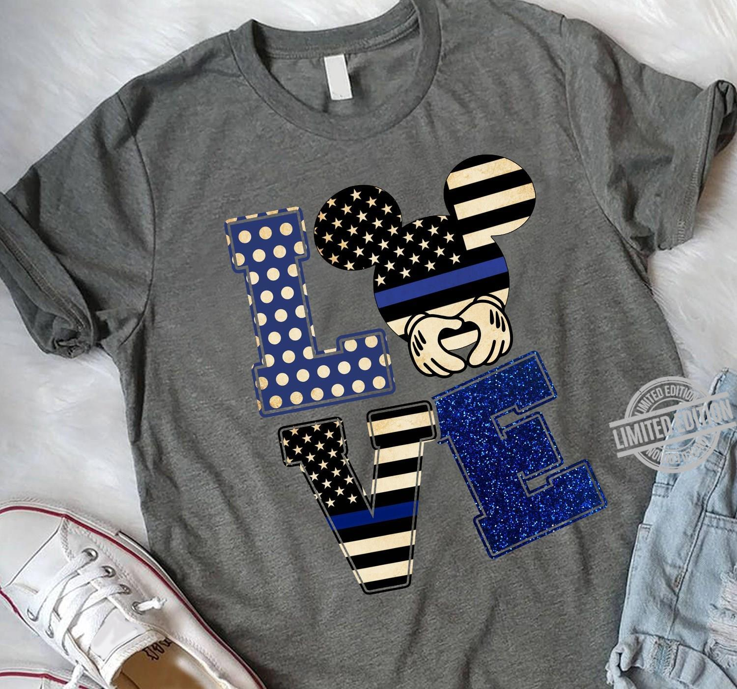 Love Mickey Mouse Back The Blue American Flag Shirt