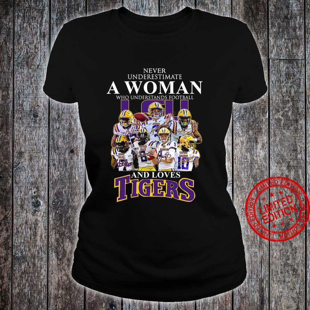 Never Underestimate A Woman Who Understands Football And Loves Tigers Shirt ladies tee