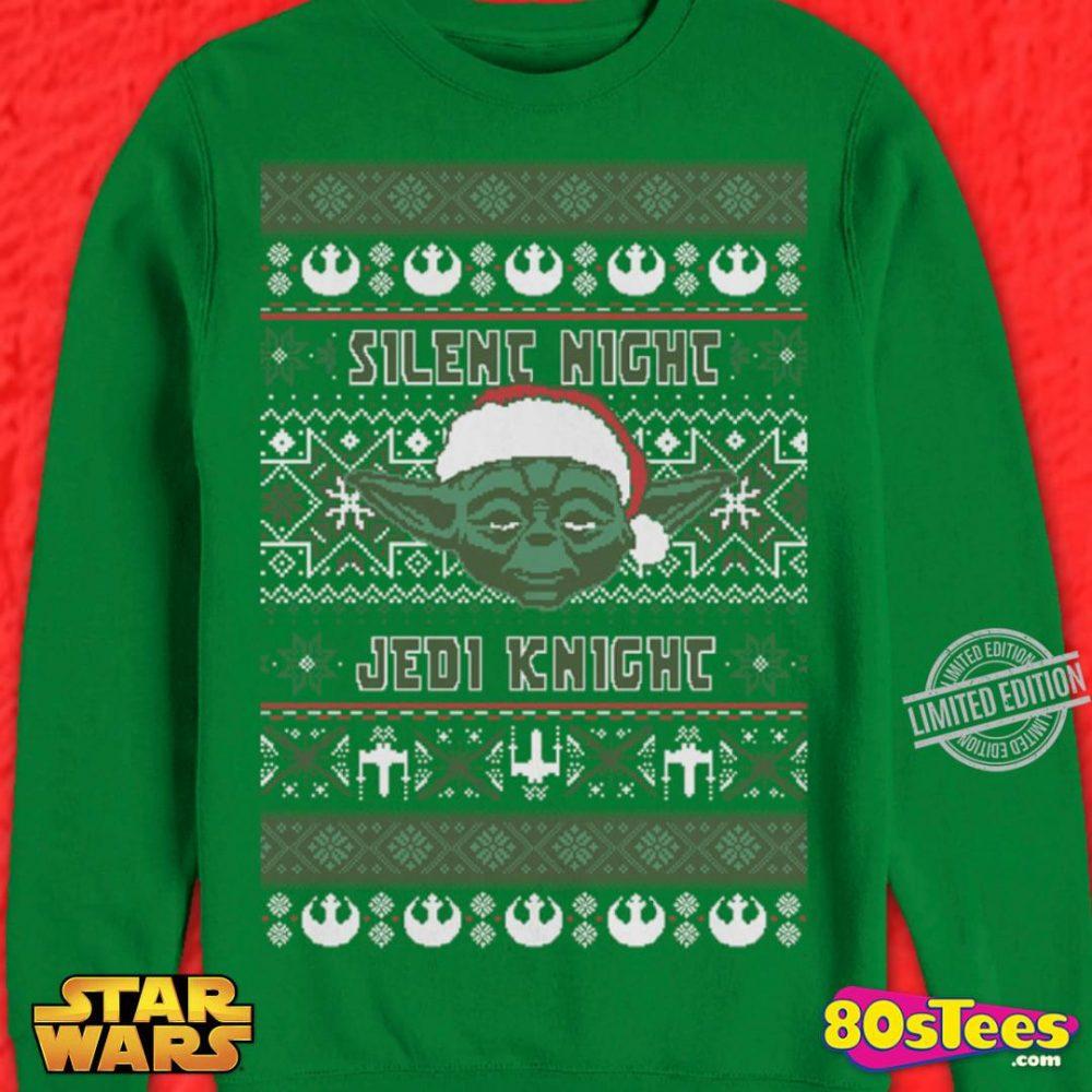 Silent Night Jedi Knight Santa Yoda Christmas Shirt
