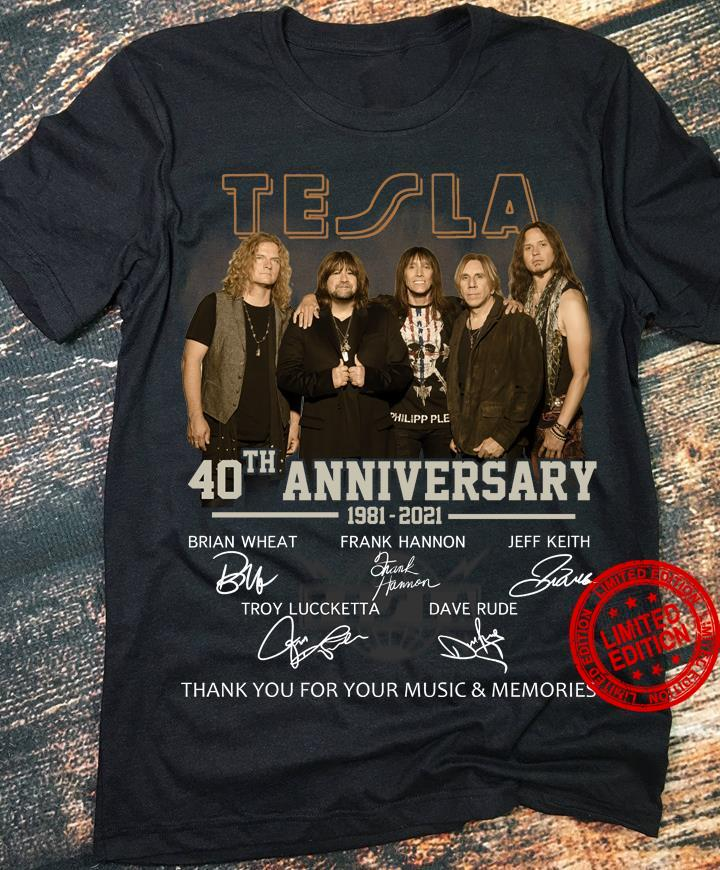 Tesla 40th Anniversary 1981-2021 Thank You For The Memories Shirt